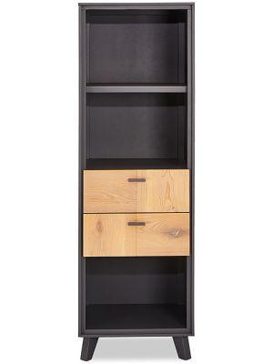 24Designs Sentosa Boekenkast - B52 x D43 x H168 cm - Massief Eikenhout - Grijs
