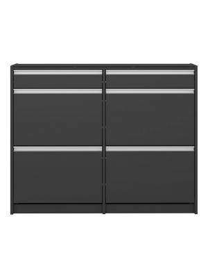 24Designs Skyline Schoenenkast B124 x D24 x H98 cm – Zwartgrijs