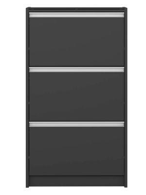 24Designs Skyline Schoenenkast B63 x D18 x H111 cm – Zwartgrijs