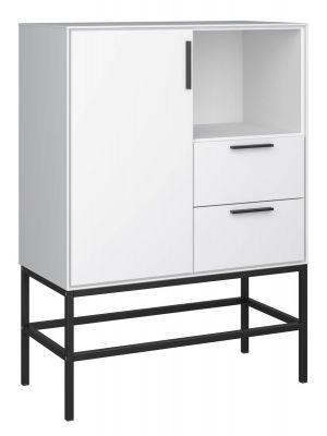 24Designs Slimline Dressoir B80 x H111 cm – Wit/Zwart