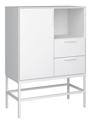 24Designs Slimline Dressoir - B80 x H111 cm - Wit