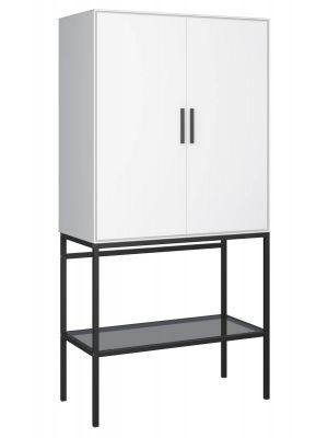 24Designs Slimline Opbergkast - B80 x H160 cm - Wit/Zwart