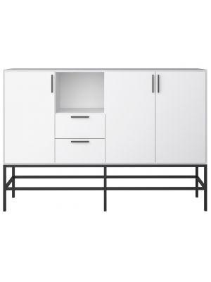 24Designs Slimline Dressoir B160 x D42 x H111 cm – Wit/Zwart