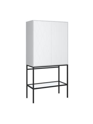 24Designs Slimline Harlekin Opbergkast - B80 x H160 cm – Wit/Zwart