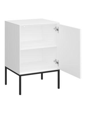 24Designs Slimline Harlekin Nachtkast - B47 x H71 cm – Wit/Zwart