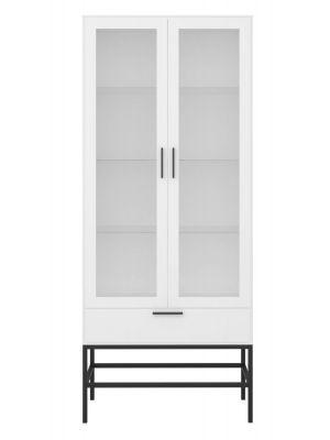 24Designs Slimline Vitrinekast - 2 Deuren - B80 x H191 cm – Wit/Zwart