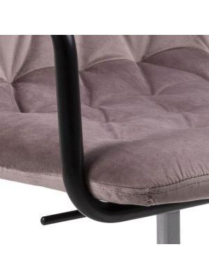 24Designs Grace Velvet Bureaustoel - Poeder Roze Fluweel - Zwarte Kruispoot met Wielen