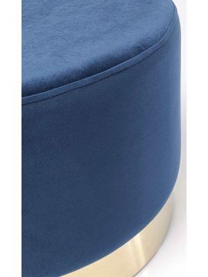Kare Design Cherry Poef - Ø55x35 - Blauw Fluweel - Messing