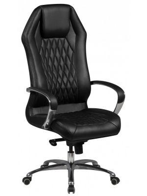 24Designs Milan Directie Bureaustoel - Zwart Leer - Aluminium Kruispoot met Wielen