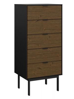 24Designs Soma Ladekast - B51 x H111 cm – Zwart/Bruin