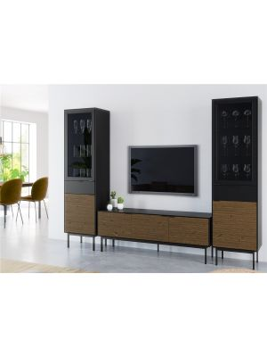 24Designs Soma TV meubel B150 x D41 x H55 cm – Zwart/Bruin