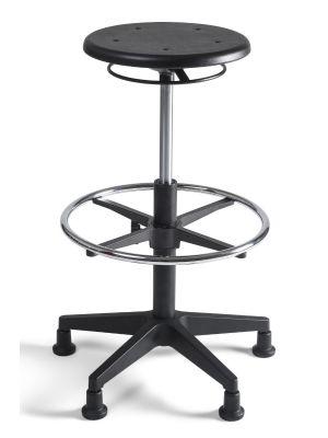 24Designs Tabouret Hoge Werkkruk PU nylon - Verstelbare zithoogte 53 - 79 cm - Zwart