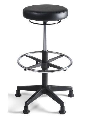 24Designs Tabouret Hoge Werkkruk PVC nylon - Verstelbare zithoogte 57 - 83 cm - Zwart