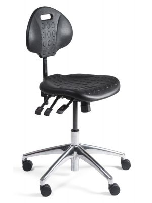24Designs Werkstoel Laag ALU - Verstelbare zithoogte 44 - 60 cm - Zwart