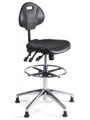 24Designs Werkstoel hoog Alu - Verstelbare zithoogte 57 - 83 cm - Zwart