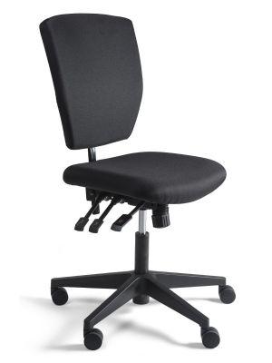 24Designs Bedrijfsstoel en Werkstoel Laag - Stof Zwart - Zithoogte 48 - 63 cm - Zwart Onderstel