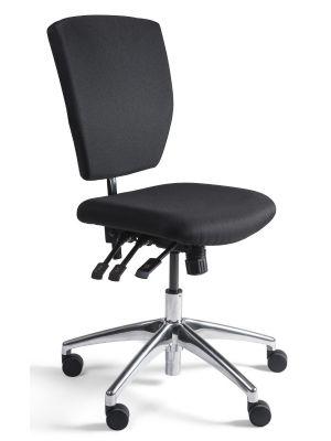 24Designs Bedrijfsstoel en Werkstoel Laag - Stof Zwart - Zithoogte 48 - 63 cm - Aluminium Onderstel