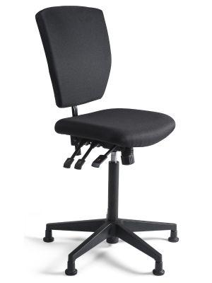 24Designs Bedrijfsstoel en Werkstoel Hoog - Stof Zwart - Zithoogte 60 - 86 cm - Zwart Onderstel