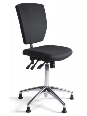 24Designs Bedrijfsstoel en Werkstoel Hoog - Stof Zwart - Zithoogte 60 - 86 cm - Aluminium Onderstel