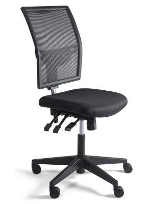 24Designs Bedrijfsstoel en Werkstoel Laag - Mesh Zwart - Zithoogte 48 - 63 cm - Zwart Onderstel