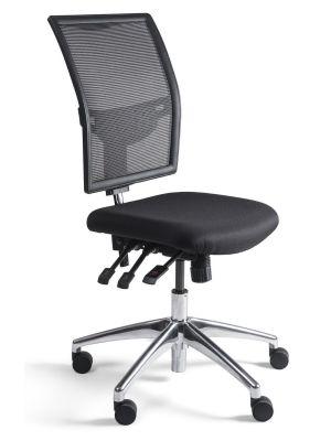 24Designs Bedrijfsstoel en Werkstoel Laag - Mesh Zwart - Zithoogte 48 - 63 cm - Aluminium Onderstel