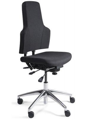 24Designs Wenen Ergonomische Bedrijfsstoel EN1335 - Stof Zwart - Aluminium Onderstel