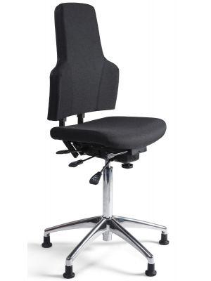 24Designs Bedrijfsstoel Hoog  - Stof Zwart - Verstelbare zithoogte 66 - 91 cm - Aluminium Gepolijst Onderstel