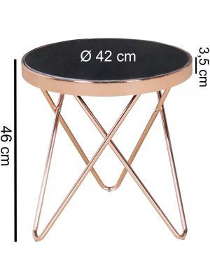 24Designs Boris Bijzettafel Ø42x46 cm - Zwart Glas - Koperkleur