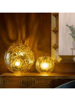 Dutchbone Lune Tafellamp - Ø40 x H39 cm - Amberkleurig Glas