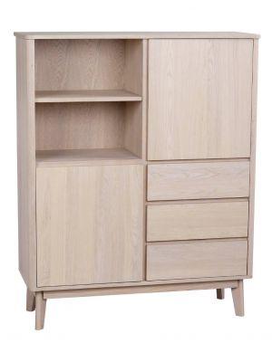Rowico Yumi Opbergkast - B112 x D40 x H138 cm - Whitewash Eikenfineer
