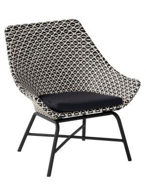 Hartman Delphine Wicker Loungestoel – Zwart /Wit – Aluminium Onderstel