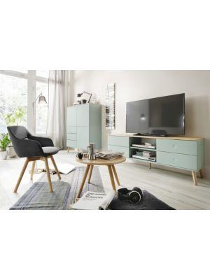 Tenzo TV-Meubel Dot 4-Laden - B162 x D43 x H60 cm - Saliegroen - Eiken Poten