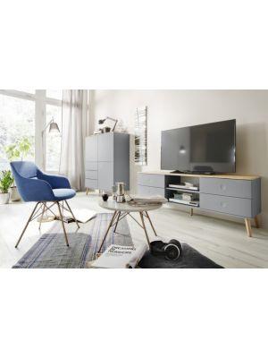 Tenzo TV-Meubel Dot 4-Laden B162 x D43 x H60 cm - Grijs - Eiken Poten