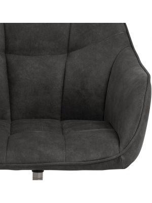 24Designs Milou Bureaustoel - Stof Antracietgrijs - Zwart Metalen Onderstel met Wielen