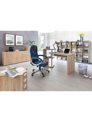 24Designs Ralf Gamestoel - Bureaustoel - Zwart-Blauw Kunstleer - Mesh - Kunststof Onderstel
