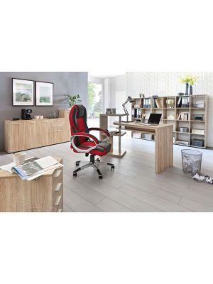 24Designs Ralf Gamestoel - Bureaustoel - Zwart-Rood Kunstleer - Mesh - Kunststof Onderstel