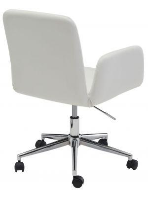 24Designs Sanne Bureaustoel - Wit Kunstleer - 5-Teens Onderstel Verchroomd Metaal