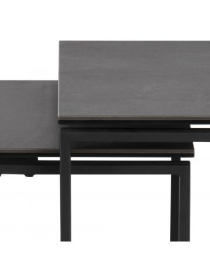 24Designs Set (3) Bijzettafels Serenity - Zwart Keramiek - Mat Zwart Metalen Onderstel