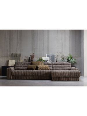 BePureHome Date Chaise Longue Rechts  - Grove Ribstof - Mud