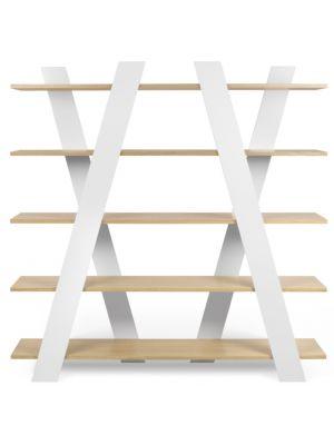 TemaHome Plankenkast Wind - 156x39x160 - Mat Wit - Eiken