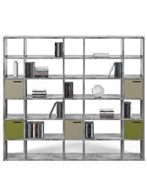 TemaHome Boekenkast Pombal Comp 2012-055 B255 x D34 x H224 cm - Grijs Betonlook