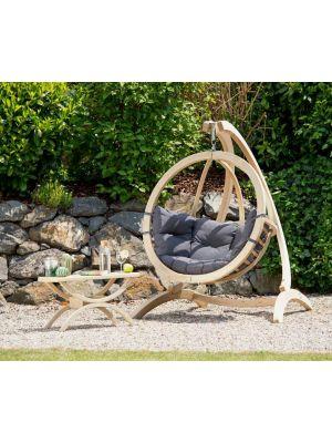 Amazonas Globo Chair Hangstoel Antraciet Kussens + Luxe Houten Standaard