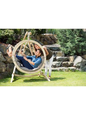 Amazonas Globo Chair Hangstoel Taupe Kussens + Luxe Houten Standaard
