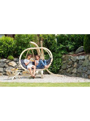 Amazonas Globo Royal Chair 2-Personen Antraciet Kussens + Royal Houten Standaard