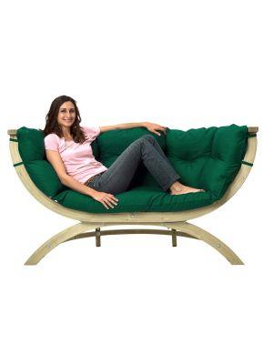 Amazonas Lounge Tuinbank Siena Due Groene Kussens - Vurenhout