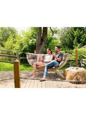 Amazonas Lounge Tuinbank Siena Due Taupe Kussens - Vurenhout