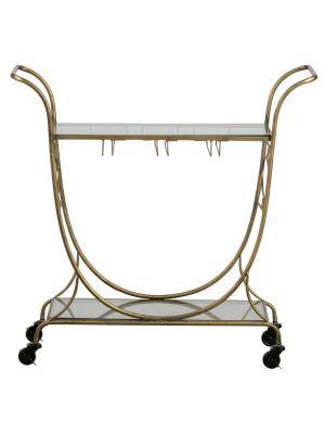 BePureHome Decadent Trolley - Metaal Antique Brass - Glazen Tafelblad