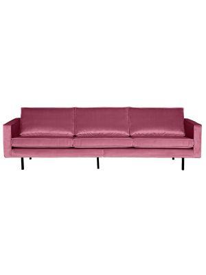 BePureHome Rodeo Bank 3-Zits - B277 cm - Velvet - Roze Fluweel