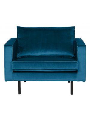 BePureHome Rodeo Fauteuil 1.5-Zits - B105 cm - Velvet - Blauw Fluweel