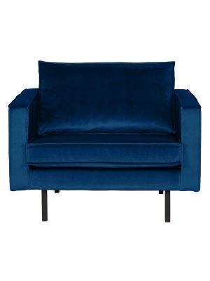 BePureHome Rodeo Fauteuil 1.5-Zits - B105 cm - Velvet - Donkerblauw Fluweel